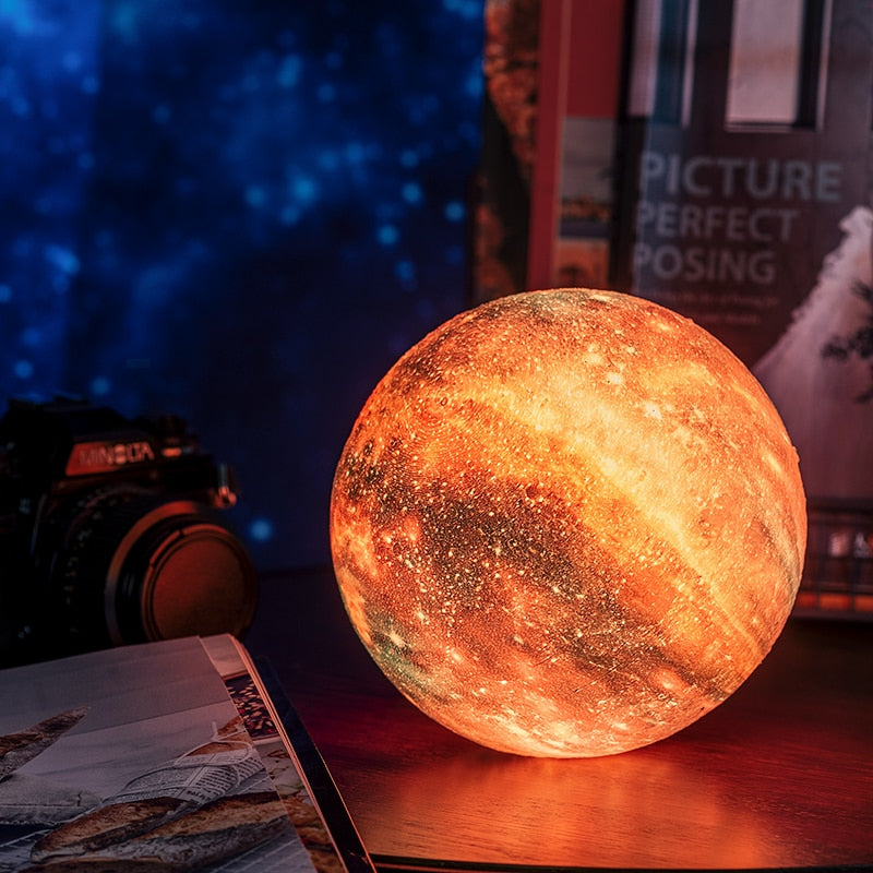 3D Printed LED Color Changing Planet Lamp