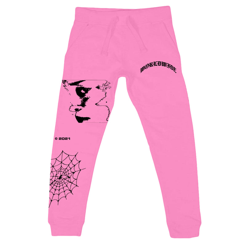 All Over Print Spider Sweatpants - Pink