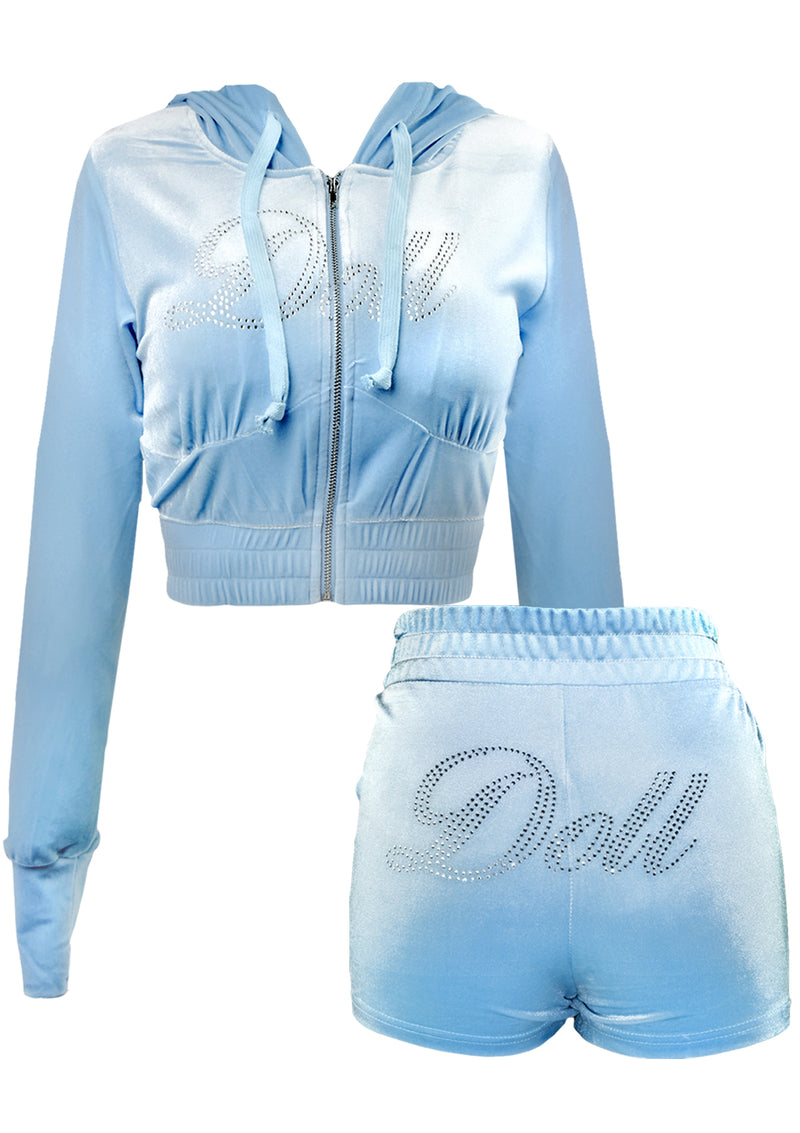 Doll Rhinestone Velour Short Set - Light Blue