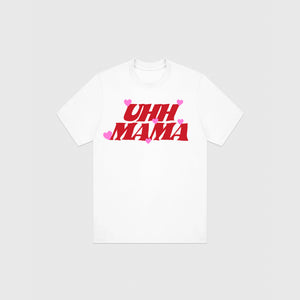UHH MAMA T-SHIRT - WHITE/RED