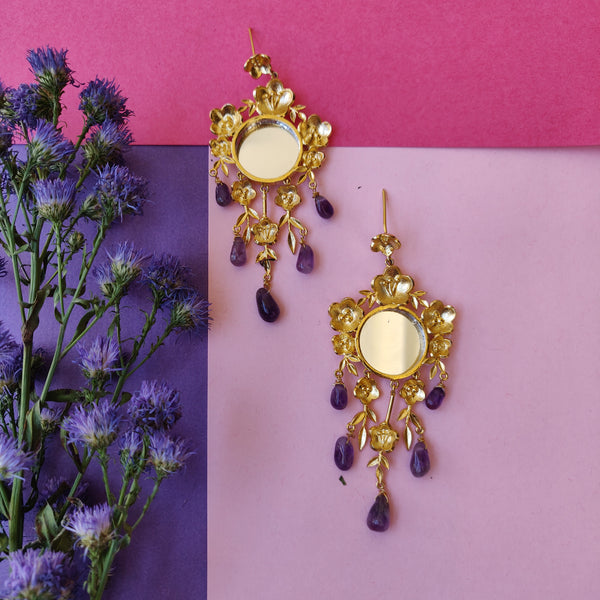 Aboli Earrings with Uncut Amethyst