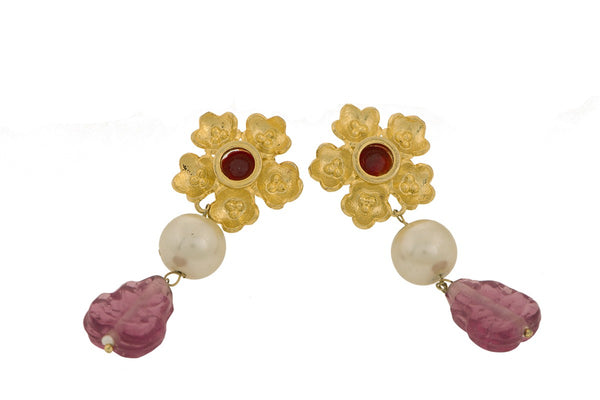 Gold Plated Poppy Pink Stud Earring