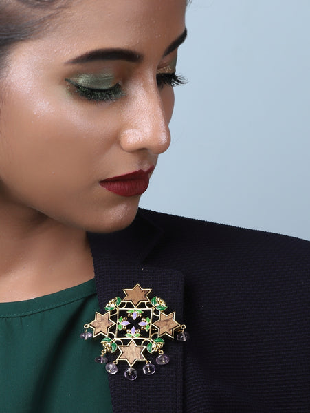 Gold plated Sitara Statement Brooch