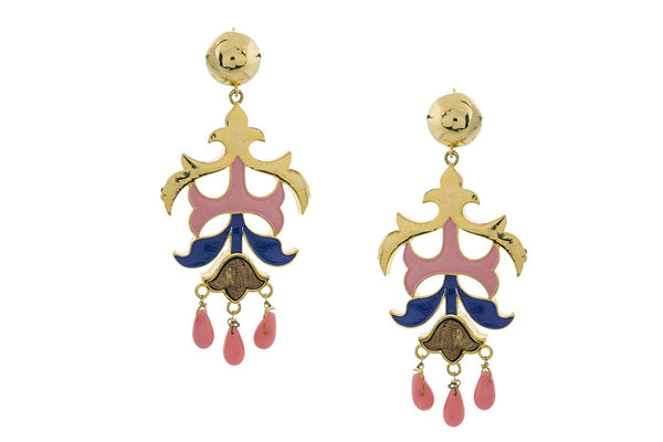 Kalidar Earrings- Coral