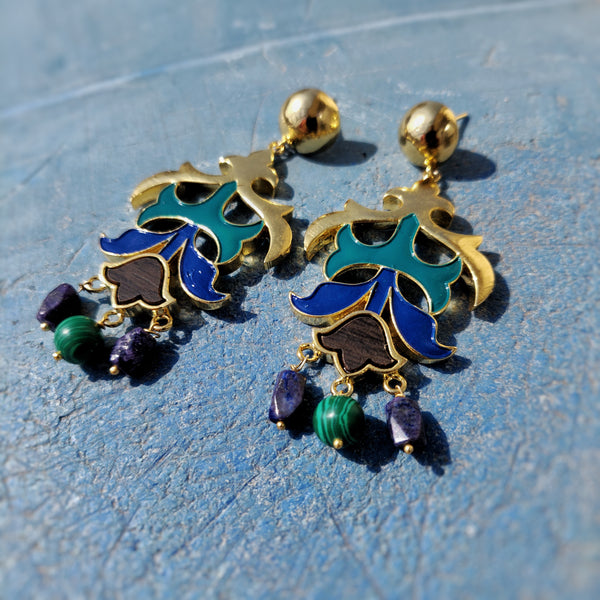 Kalidar Earrings- Melachite