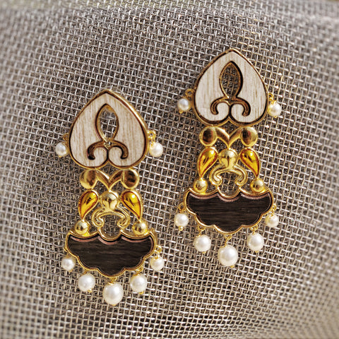 Jharoka Dangler Earrings- Pearls