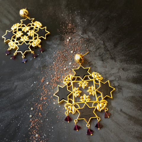 Sitara Statement Earrings- Garnet