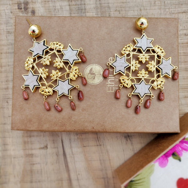Sitara Statement Earrings- Sandstone