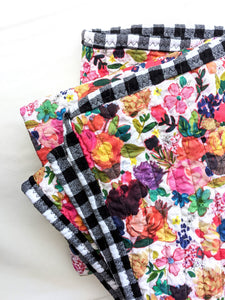 Quilted Throw - Floral and Plaid