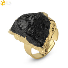 Load image into Gallery viewer, Gold-color Irregular Black Tourmaline Ring