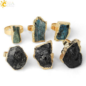 Gold-color Irregular Black Tourmaline Ring