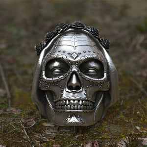 Muerte Sugar Rose Skull Ring