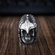 Load image into Gallery viewer, Indian Aztec Eagle Skull Ring