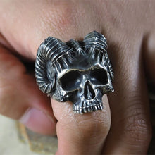 Load image into Gallery viewer, Horns Satan Demon Skull Ring
