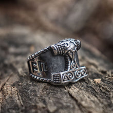 Load image into Gallery viewer, Viking Thor Hammer Rune Ring