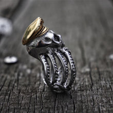 Load image into Gallery viewer, Octopus Tentacle Captain Skull Ring