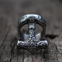Load image into Gallery viewer, Thor's Hammer Rune Ring