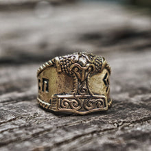 Load image into Gallery viewer, Gold Thor Hammer Ring