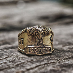 Gold Thor Hammer Ring
