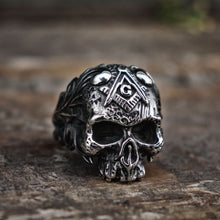 Load image into Gallery viewer, Vine Free-Mason Masonic Skull Ring