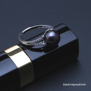 Button Black pearl ring
