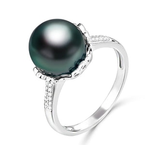 10-11mm Natural Black Pearl Ring