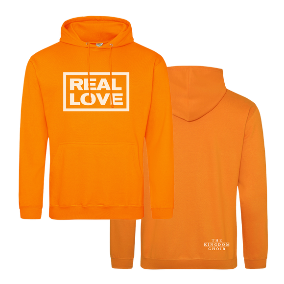 REAL LOVE BOX LOGO - Hoody (Orange w/White)
