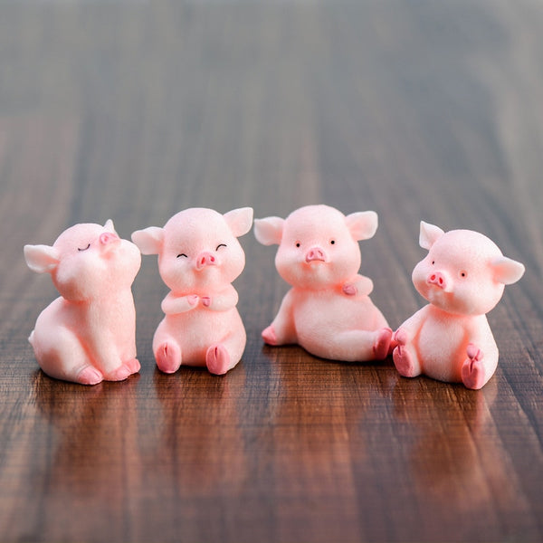 ZOCDOU 1 Piece Cute Pink Pig Pigs China Korean Model Statue Figurine Crafts Figure Ornament Miniatures Girl Home Room Decoration
