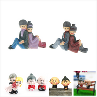 Grandpa Grandma Sweety Lovers Couple Miniatures Garden Landscape Resin Mini Bride and Groom Garden Miniature Home Decoration Acc