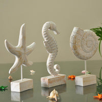 Mediterranean Style Wood Carving Marine Home Decor Wood Crafts Sea Star Conch Hippocampus Desktop And Home Decoration