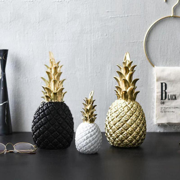Nordic Style Modern Pineapple Ornament Craft Synthetic Resin Individual Metal Finishes Home Living Room Desktop Decor Gift