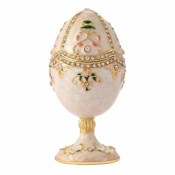 FLETCHER brand metal material White purity enamel faberge egg craft and souvenir for home decor