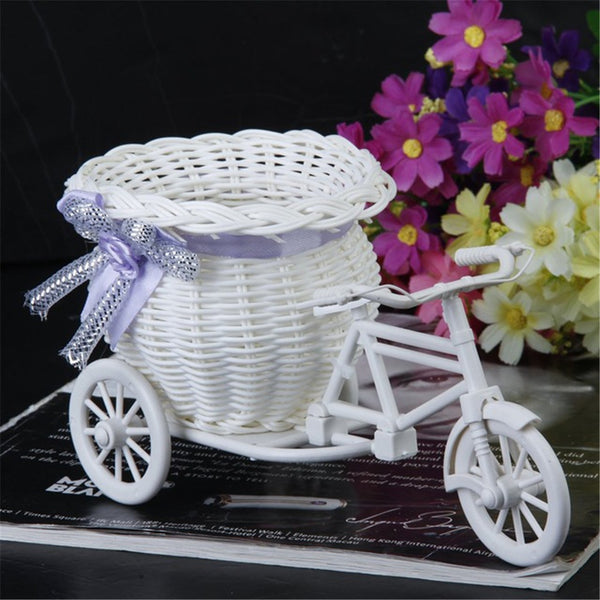 White Flower Basket Container Flower Plant Home Vase Wedding Bike Basket Tricycle Basket Container Home Weddding Decoration