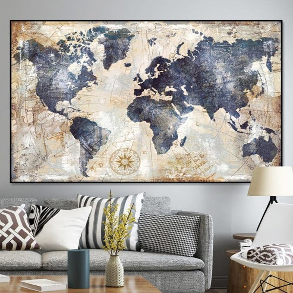 Tela em Canvas World Map Vintage
