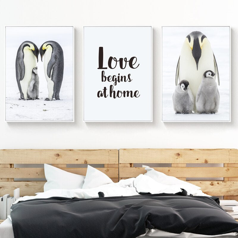 Telas em Canvas Penguins Love