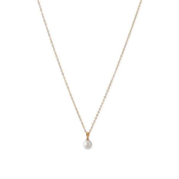 14 Karat Gold Necklace with a Sliding Cultured Freshwater Pearl Pendant