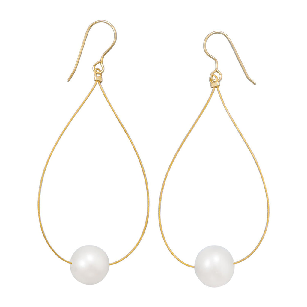 24 Karat Gold Plated Cultured Freshwater Pearl Earrings