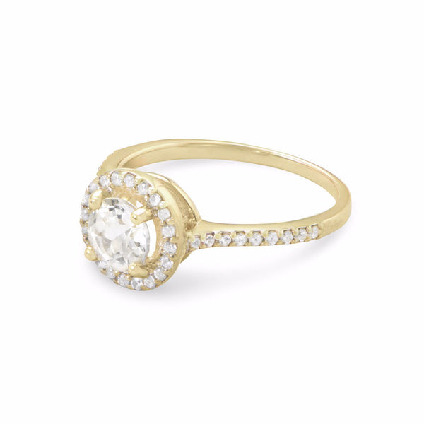 10 Karat Gold Halo Style Ring with White Topaz and Sapphires