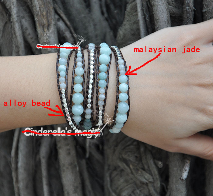 5 Layer Handmade Wrap Bracelet with various shades of Malaysian jade and silver alloy beads - Blue Tulip Boutique