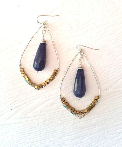 Handmade Earrings Wire Wrapped with Gemstone Drop - Blue Tulip Boutique