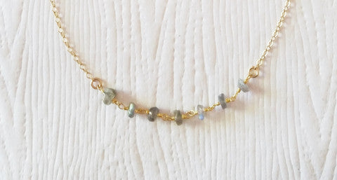 Zankynthos Necklace- stunning labradorite, gold pyrite, tigers eye, chrysoprase, or natural pyrite. - Blue Tulip Boutique