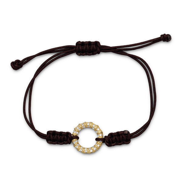 Adjustable Brown Cord Bracelet with 14 Karat Gold Plated CZ Circle