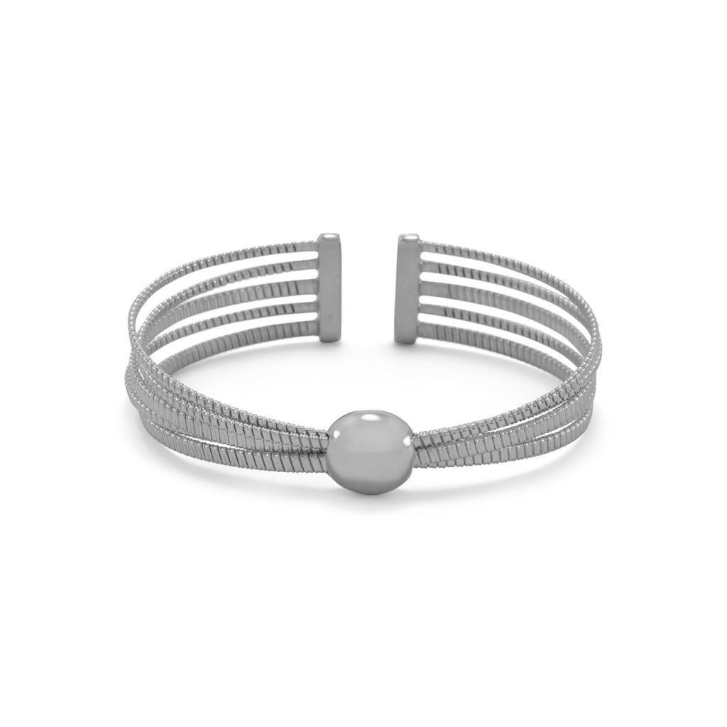 Rhodium Plated 5 Row Cuff Bracelet With Dome Center