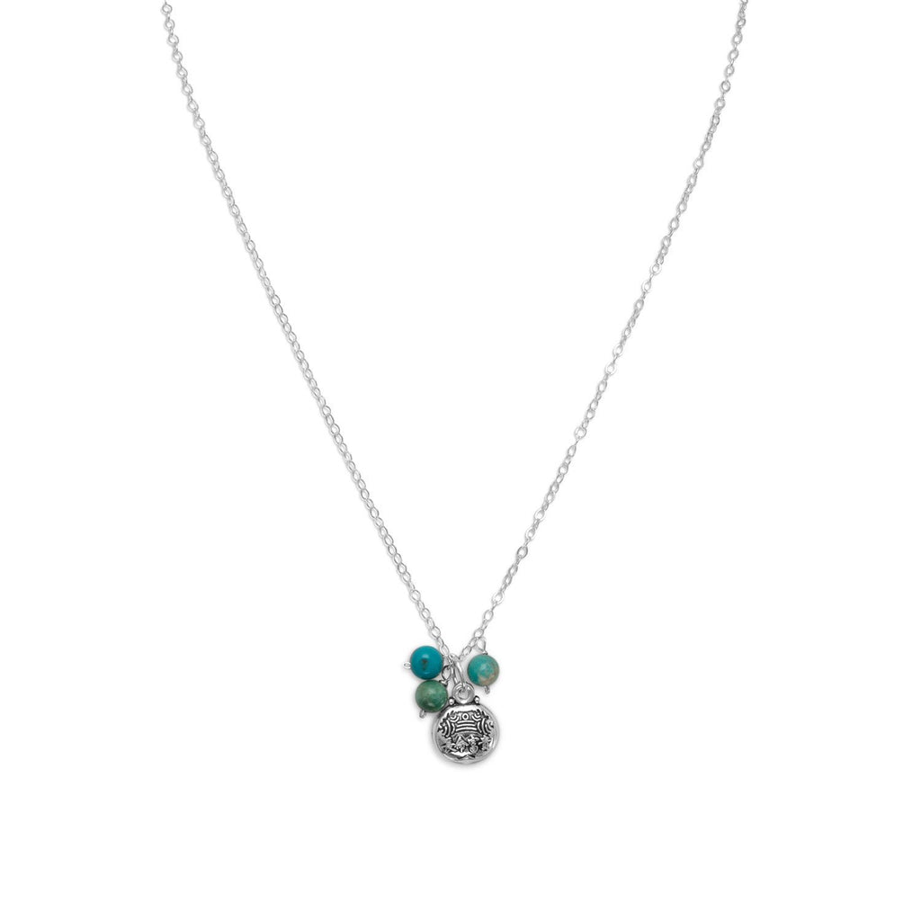 "16"" + 1"" Reconstituted Turquoise Bead Necklace with ""Good Luck"" Charm"