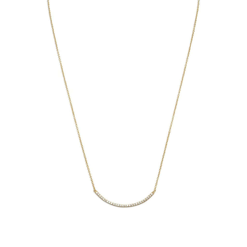 "18"" + 2"" 14 Karat Gold Plated Curved CZ Bar Necklace"
