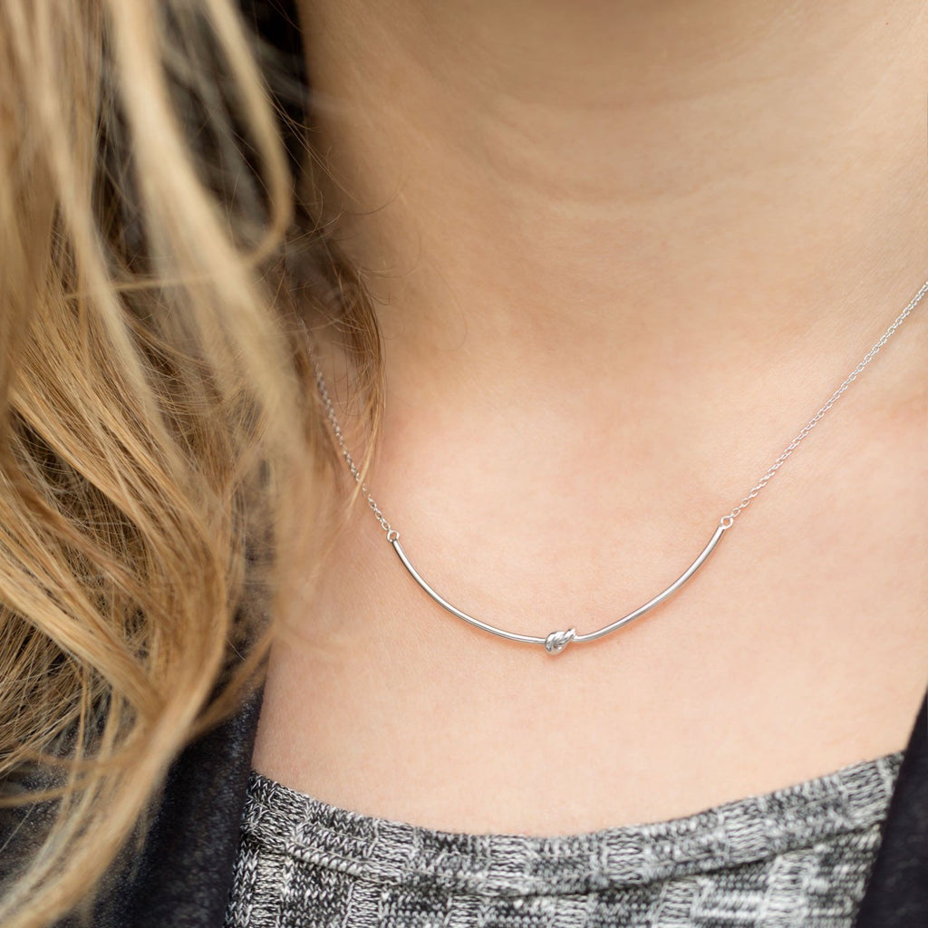 "16"" + 2"" Rhodium Plated Knot Necklace"