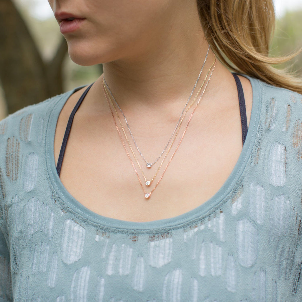 Graduated Tri Tone Necklace with CZs - Blue Tulip Boutique