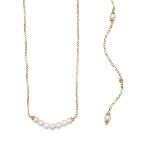 Beautiful 14/20 Gold Filled Cultured Freshwater Pearl Back Drop Necklace