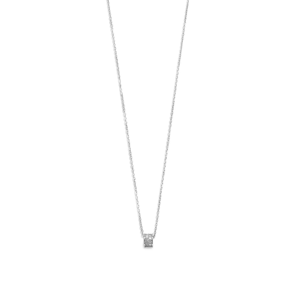 Rhodium Plated CZ Wheel Necklace