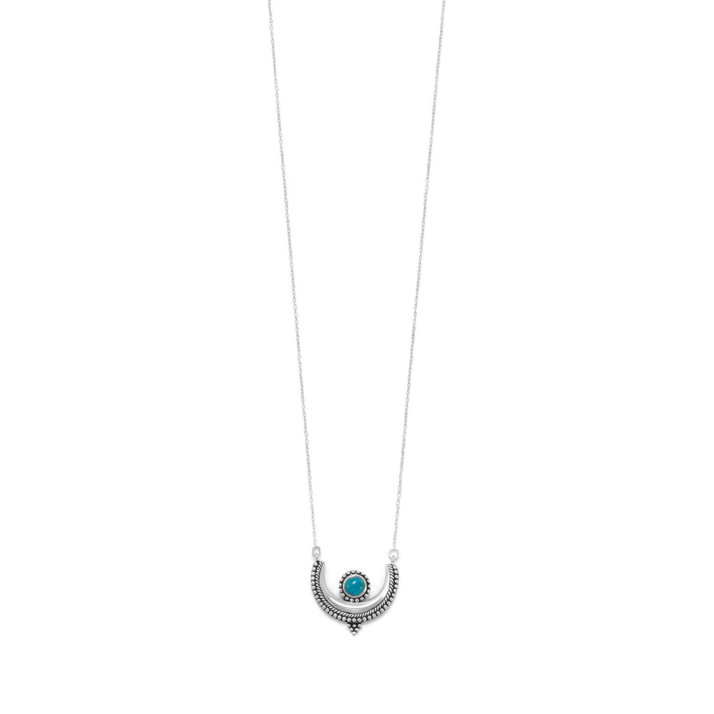 "18"" Oxidized Turquoise Crescent Necklace"